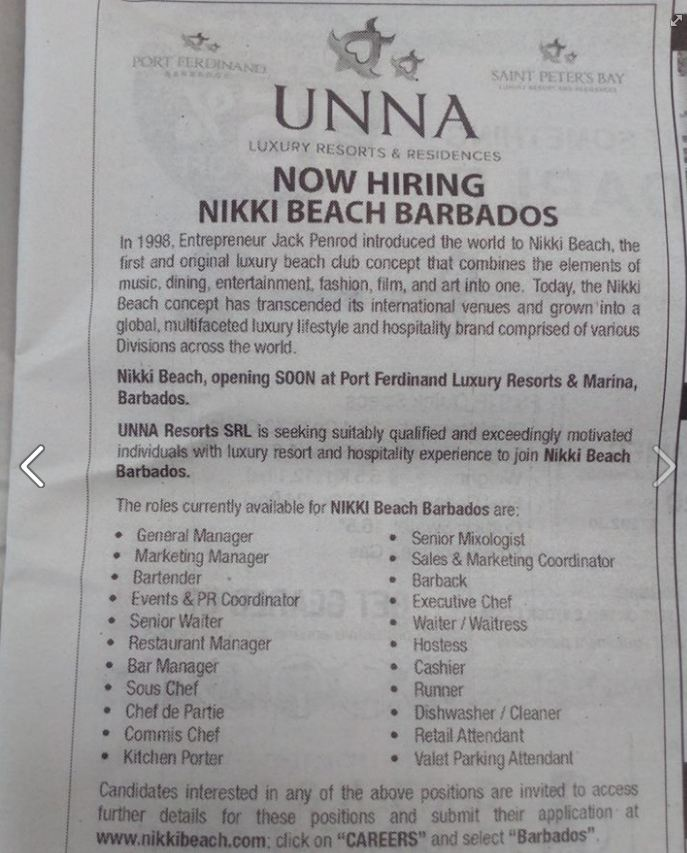 Hotel Job In Barbados Nikki Beach Career Thegastrojob Com